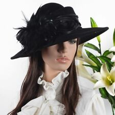 Women Wool Plume Kentucky Derby Church Dress Wide Brim Hat  029M-FF