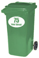 3 x 180mm WHEELIE BIN CUSTOM OVAL STREET NAME/NUMBER DECALS/STICKERS 19 COLOURS