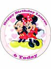 "Mickey and Minnie Mouse 7.5"" Round Edible Icing Cake Topper"