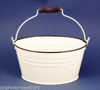 48 TOBS WHOLESALE FRENCH STYLE CREAM OVAL METAL ENAMEL BUCKETS WEDDING TABLES