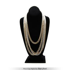 "Men's 14K Gold Or Silver Plated 6~9mm Cuban Link Necklace Chain 24"" 30"" concave"