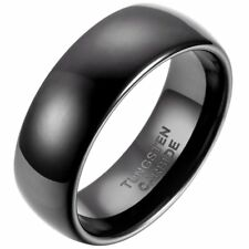 8mm Comfort Fit Classic Dome Men's Tungsten Carbide Ring Wedding Band Black