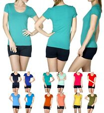 NEW SCOOP NECK SHORT SLEEVE T-SHIRT SOLID COLOR BASIC T-SHIRT TOP - AT6639