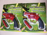 2 x SMALL RED DIECAST / DIE CAST METAL TOY CAP GUN USES 8 SHOT PLASTIC RING CAPS