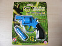 SMALL BLUE 8 SHOT DIE CAST METAL TOY COWBOY CAP GUN PISTOL REVOLVER FANCY DRESS