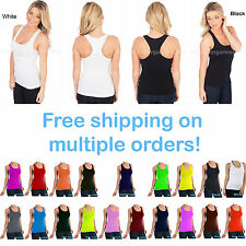 Women Stretch Tank Top Ribbed Scoop Neck T-Shirt Cami Yoga Fitness Size XS,S,M,L
