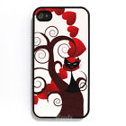 Red Heart Black Cat Tree Hard Back Cover Skin for Apple iPhone 4 Case 4S 4th 4G