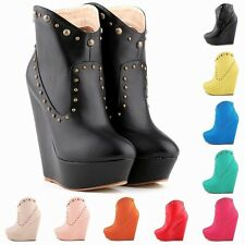 WOMENS HIGH HEELS SHOES PU PLATRORM ANKLE BOOTS PUMPS WEDGE SIZE AU 3.5 - 8.5