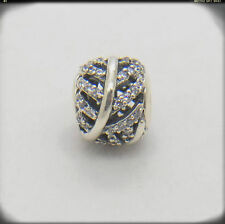 Light As A Feather Clear CZ Authentic Sterling Silver Pave Hollow out charm bead