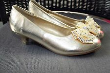 infant Girls Party Wedding Dress Low Heel diamante bow Shoes bridesmaid NEW GOLD