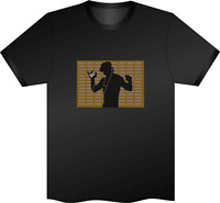 SOUND ACTIVATED GUY DANCING  FLASHING LIGHT UP DOWN LED T SHIRT  MEDIUM el