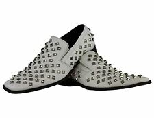 Mens White Real Leather Metal Studded Designer Style Loafers Party Funky Shoes