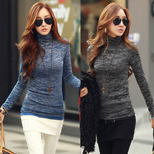Women Long Sleeve Turtleneck Casual Slim Tops Knit Sweater Winter T-shirt Blouse