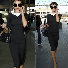 The Posh Victoria Beckham Celebrity Long Sleeve Victoria Style Black Women Dress