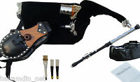 IRISH UILLEANN PIPES PARCTICE SET BAGPIPE AFRICAN BLACKWOOD WITH 3 KEY CHANTER