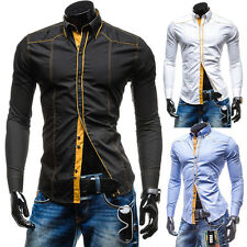 New Mens Luxury Casual Stylish Slim Fit Long Sleeve Casual Dress Shirts Tops ee