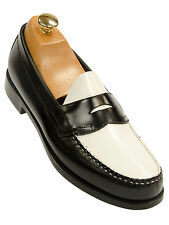 Weejun G.H Bass Mens Black White Leather Spectator Trending Penny Loafer Shoe