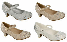Infant Girls Low Heel Wedding Dress Diamante Bar Buckle Courts Shoes Size 9-2