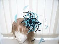 BLACK & TURQUOISE  FEATHER FASCINATOR/ACCESSORIES-FAB HAT- BESPOKE SERVICE
