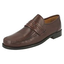 MENS BROWN LEATHER  SLIP ON SHOES BY CLARKS  BEZEL EDGE H FITTING £39.99