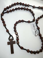"""Men / Ladies Chunky Wooden Rosary Beads Crucifix/Cross 36"""" Long Necklace"""