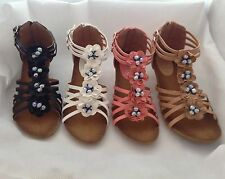 NEW LADIES WOMEN GIRLS GLADIATOR SUMMER SANDALS SIZE 3-8