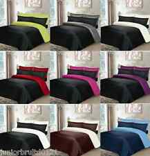 6 PIECE MICROFIBER BED SET 4 PILLOWCASES + DUVET COVER + FITTED SHEET REVERSIBLE