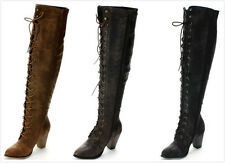 NEW Women's Hot Fashion Chunky Lace up Over the Knee High Heel Riding Boots