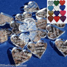 50 Personalised Mr & Mrs Love Hearts Wedding Favours Table Confetti Decorations