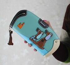 2015 Ladies New Lovely Dog Long Zip PU Leather Wallet Case Purse Clutch Handbag