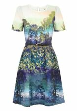 New Uttam Boutique Womens Ladies Trees And Bluebell Print Dress 8 10 12 14 16