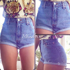 Retro Sexy Women Vintage High Waist Shorts Hole Denim Jeans Pants Crimping Hot