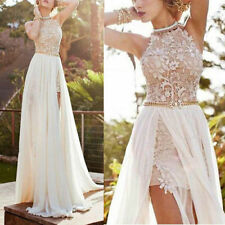 Lace Long Chiffon Dress Bridesmaid Evening Formal Party Cocktail Dress Gown Prom