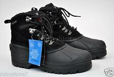 Kingshow Men's Black Winter Snow Boots Shoes Genuine Leather Waterproof Wide