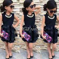 2015 Baby Kids Girls Princess Party Prom Evening Black Striped Tulle Dress 2~8Y