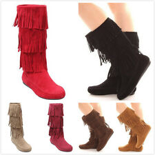New Women's Fashion Sassy Three Layer Fringe Moccasin Mid Calf Flat Boots Shoes