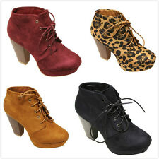 NEW Women's Fashion Lace Up Chunky High Heel Platform Ankle Booties Pumps Shoes