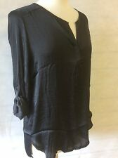 Ex-ZARA BLACK SATIN SILK EFFECT SHIRT BLOUSE Size's 8/10 - 12 - 14 - 16
