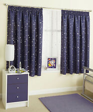 Stars and Moon Blockout Childrens Pair Of Ready Made Curtains FREE POSTAGE