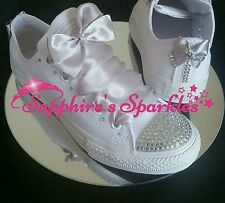 Infants Customised Silver Mono All White Converse Sizes 2 3 4 5 6 7 8 9 10