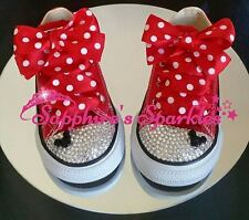 Red Polka Dot Customised Crystal Minnie Mouse Converse Sizes 2 3 4 5 6 7 8 9 10