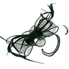 Black Sinamay Feather Fascinator Formal Headpiece Hat Race Prom Ascot Party