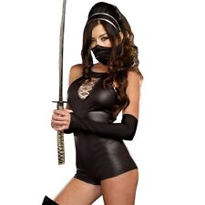 Travestimento costume halloween carnevale donna NINJA vestito guanti Cosplay hot