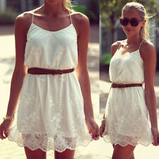 Sexy Women Summer Casual Sleeveless Party Evening Cocktail Short Mini Lace Dress