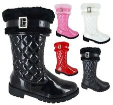 GIRLS FAUX FUR LINED BUCKLE QUILTED KIDS INFANTS MID CALF WINTER BOOTS SIZE 7-3