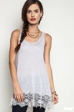 New Umgee Lace Trim Off White Tank Top Blouse Size S M L  B5541