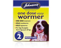 Johnsons One Dose Wormer Tablets Worming Medium Dogs Trendy Upto 20kg Size 2