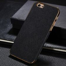 New Black Leather Golden Edge Hard Back Case Cover for iPhone 6s / Plus