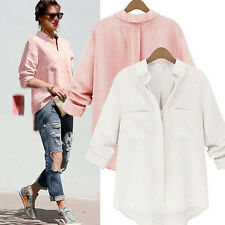 New Womens Loose Casual Cotton V Neck Buttons Long Sleeve Shirt Tops Blouse Plus