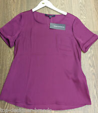 LADIES FRENCH CONNECTION SILK PURPLE SHORT SLEEVE TOP *SALE £34.99 TO £19.99*